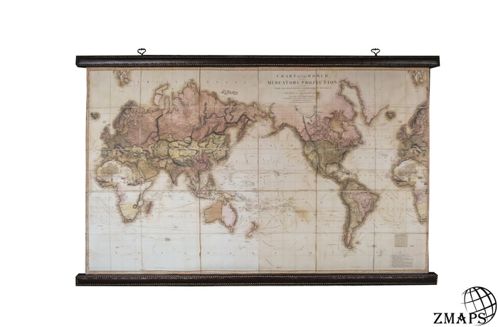 World map exclusive 1800, 78'' x 45'', 198 x 113 cm, Vintage canvas, Real leather (cattle)