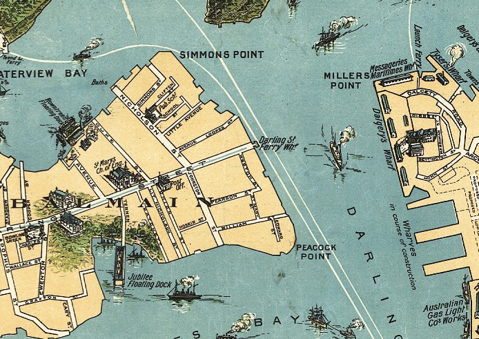 readable details of sydney map vintage