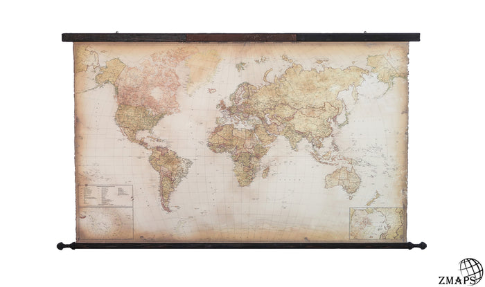 Pull Down Large Canvas Push Pin Framed World Map Zmaps