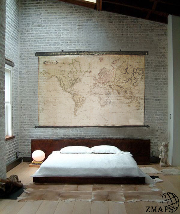 Magnificent huge world map 1831, 111'' x 74''/ 280 x190cm, Antique wood, Vintage canvas, Iron elements