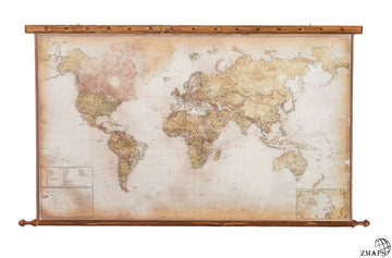 Golden modern world map - Overall size  67