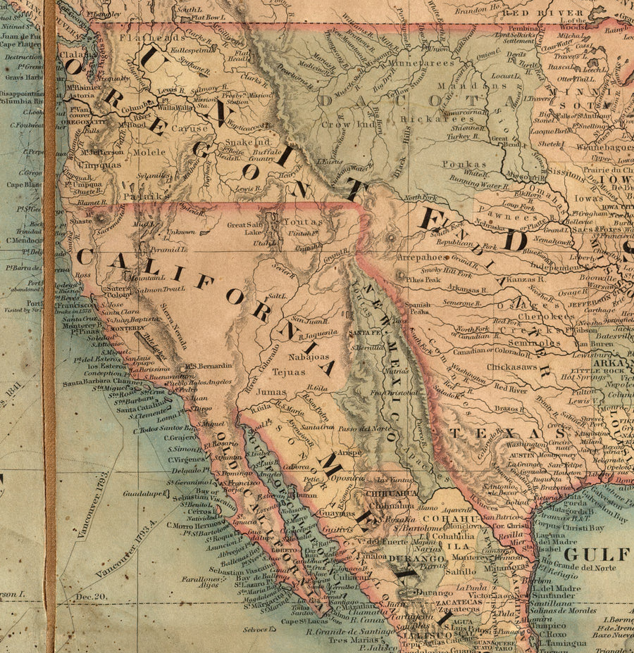 West coast showed on large antique wall map.