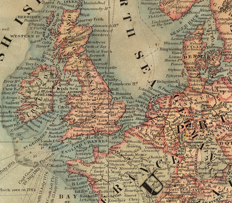 Vintage map showing Europe and United Kingdom in details.