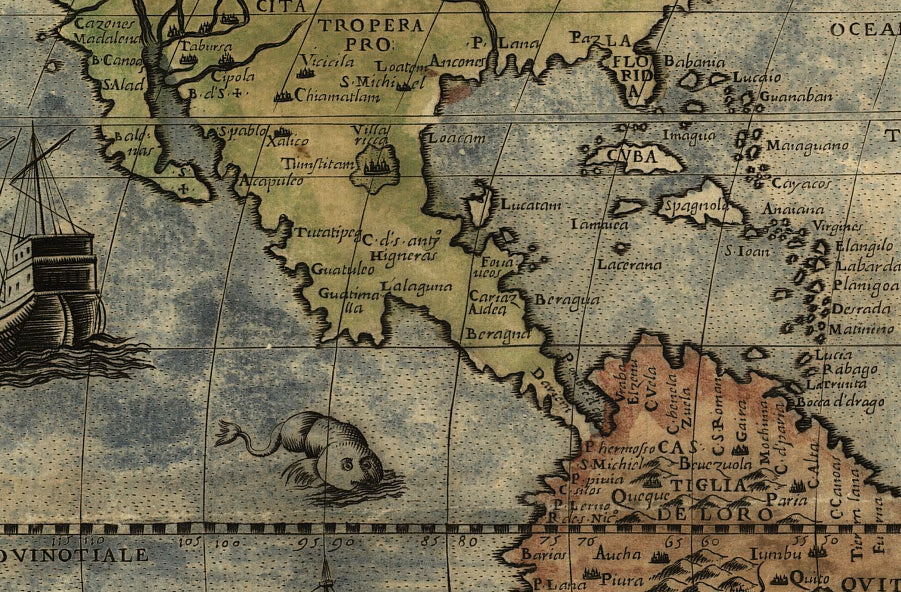 Colorful World Map X Cmx Cm Monsters Ships - Old time world map