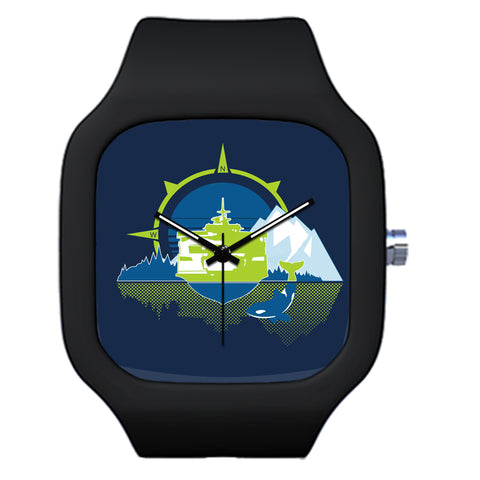 Black Seattle Ferry Orca Mountain Watch | Evolve Watches