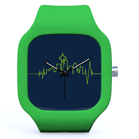Green Seattle EKG Skyline Pulse Watch | Evolve Watches