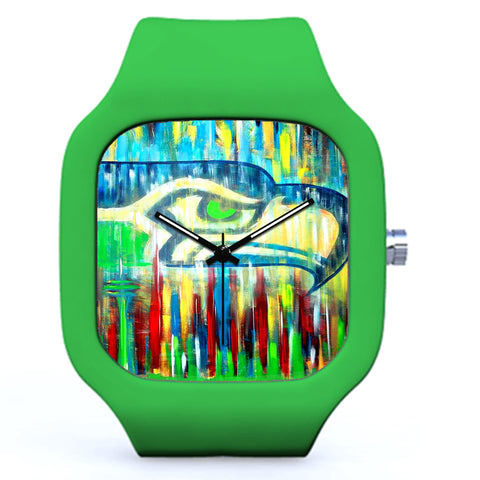 Green Seattle Seahawks Art Painting Watch | Evolve Watches