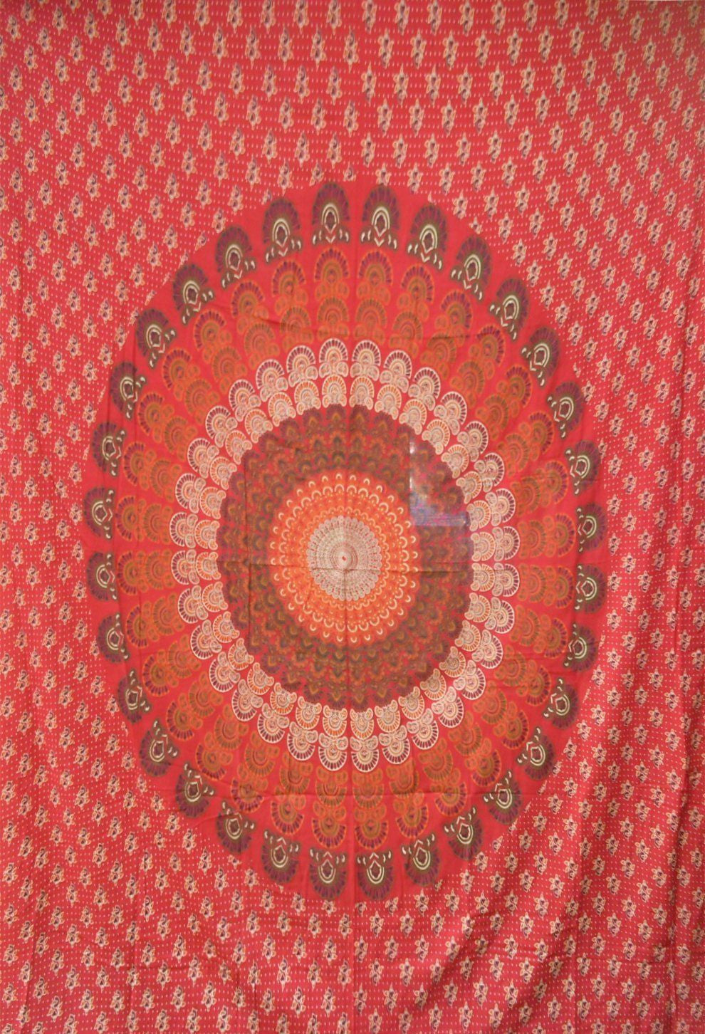 RED White Mandala WOVEN BEDSPREAD BED SOFA Chair THROW COVER WALL HANGING  Boho
