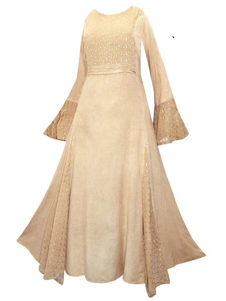 88deee83a96 LONG cream MEDIEVAL PRINCESS DRESS 10 12 14 16 18 20 22 24 26 28 30
