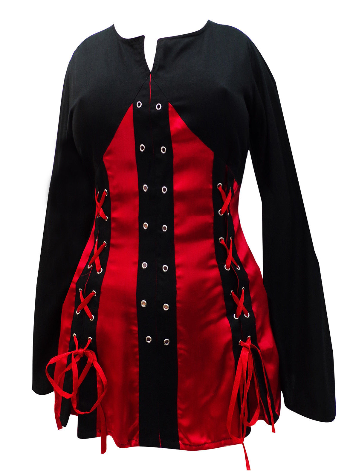 Black Red Long Medieval Pirate Top Blouse 10 12 14 16 18 20 22 24