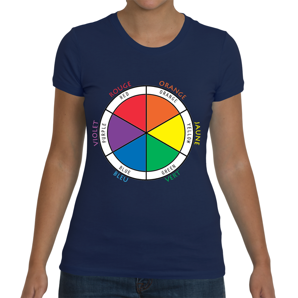 Ladies Bilingual T-Shirt - Color Wheel in French and English
