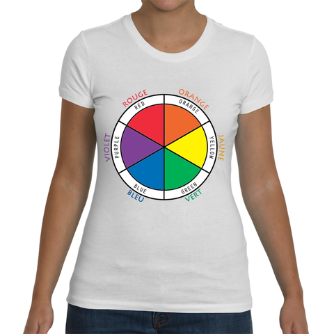 Ladies White Bilingual T-Shirt - Color Wheel in French and English