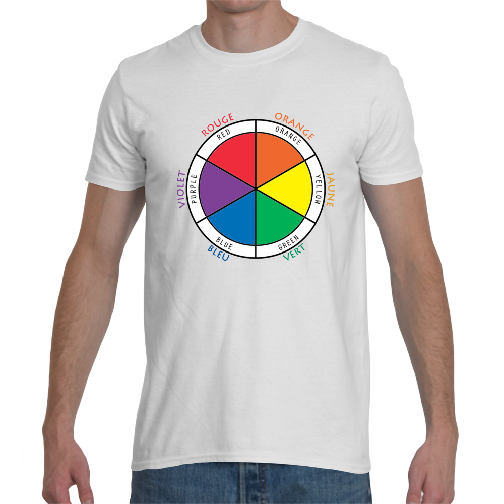 Men's Bilingual White T-shirt with Color Wheel in French and English
