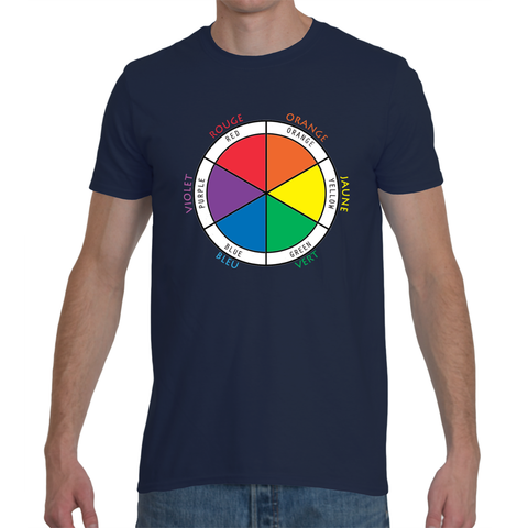 Men's Bilingual T-Shirt - Color Wheel in French and English