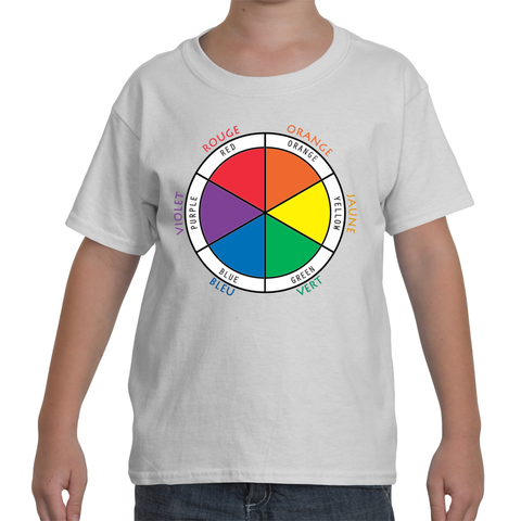 Kids Bilingual White T-Shirt - Color Wheel in French and English