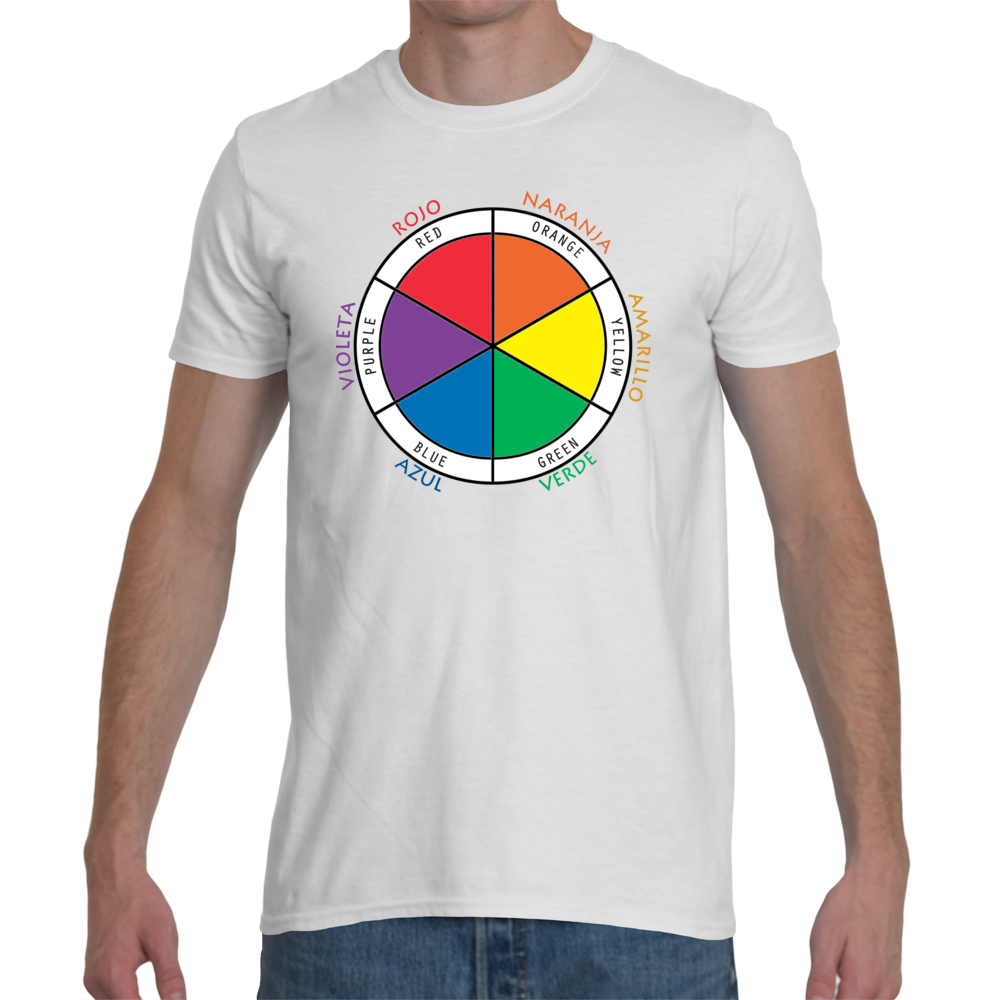 Men's White T-Shirt with Color Wheel in Spanish and English