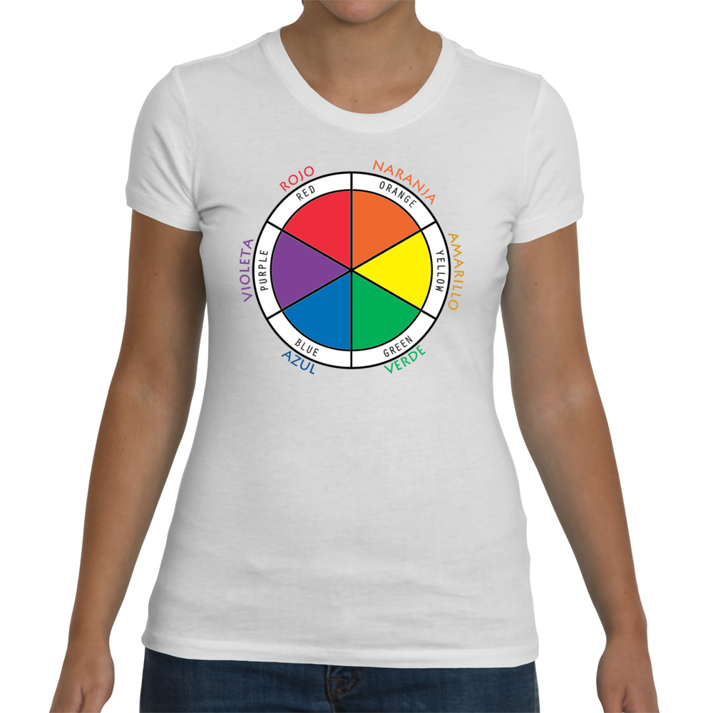 Ladies White Bilingual T-Shirt - Color Wheel in Spanish & English