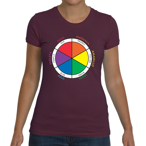 Ladies Bilingual Shirt - Color Wheel in Spanish and English