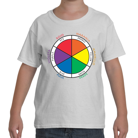 Kids Bilingual White T-Shirt - Color Wheel in Spanish and English