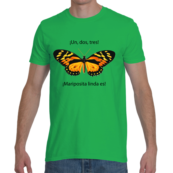 Mens T-Shirt in Spanish - Un, Dos, Tres, Mariposita Es (1, 2, 3, It's a Beautiful Little Butterfly)