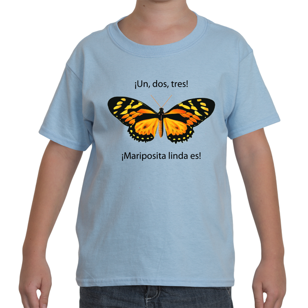 Youth T-Shirt in Spanish - Un, Dos, Tres, Maripositas linda es (1, 2, 3, It's a Beautiful Little Butterfly)