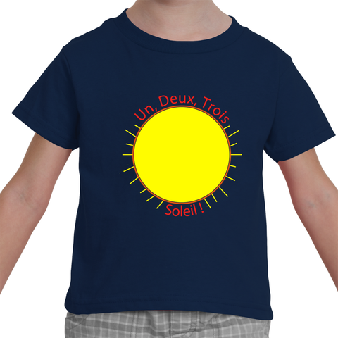 "Toddler French Language T-Shirt - ""Un, Deux, Trois, Soleil!"" (1, 2, 3, Sun!)"
