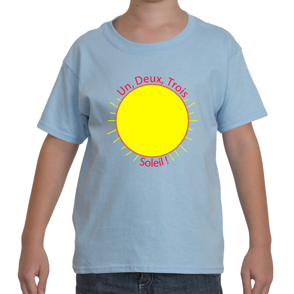 "Youth French Language T-Shirt - ""Un, Deux, Trois, Soleil!"" (1, 2, 3, Sun!)"