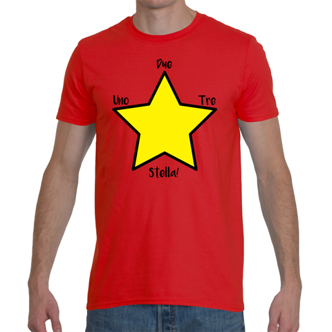 "Italian Language Men's T-Shirt ""Uno, Due Tre, Stella!"" (1, 2, 3, Star!)"