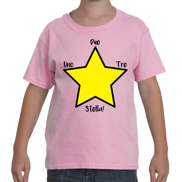 "Italian Language Youth T-Shirt - ""Uno, Due, Tre, Stella!"" (1, 2, 3, Star!)"