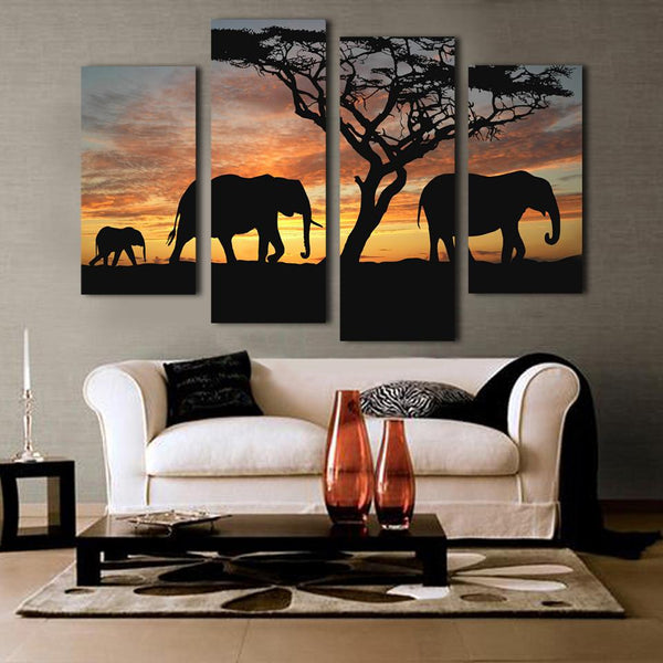 4 Panels Elephant in Sunsetting Print Canvas Painting for Living Room Wall Art Picture