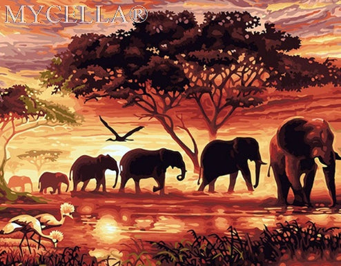 Elephants Landscape - Diamond Painting Kit
