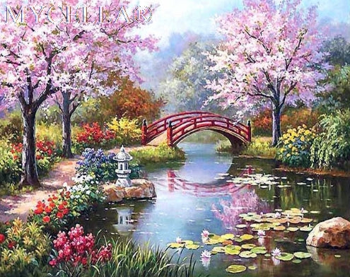 Sakura Lake - Diamond Painting Kit