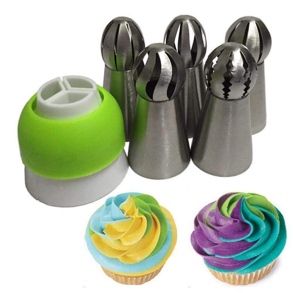 5 Piece Ball Pastry Tip Set-Tri Coupler Included