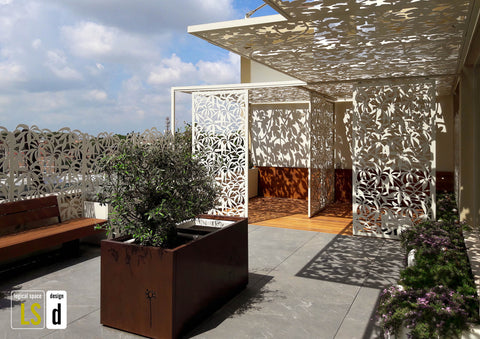 therapeutic garden with aluminum screens