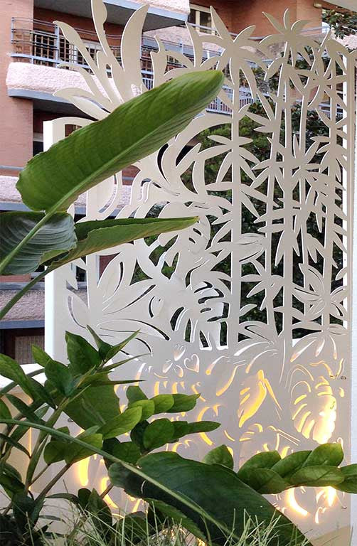 backlit bamboo forest laser cut aluminum screening detail