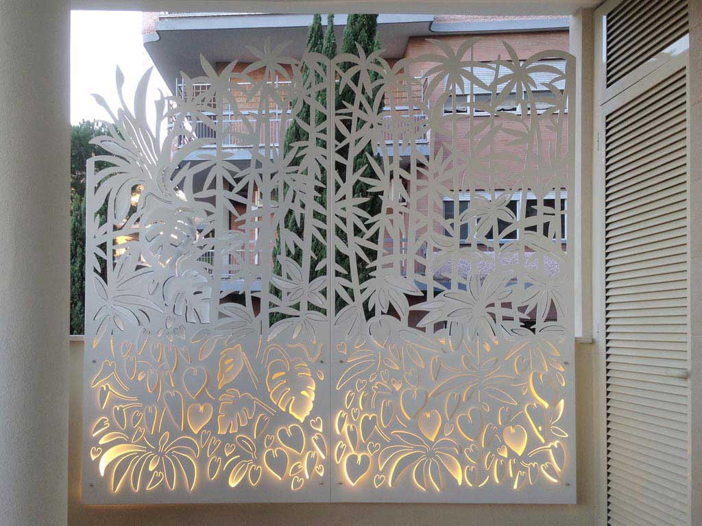backlit bamboo forest laser cut aluminum screening