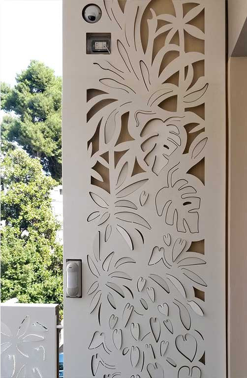 lasercut 3D Forest panels create intimate spaces. Installed on the railing