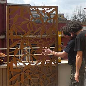 Logical Space design corten screen installation