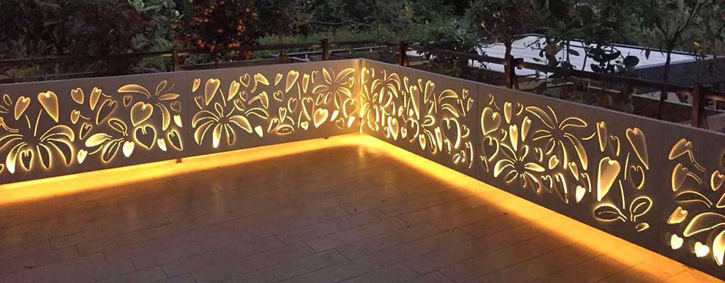 schefflera forest screens and planters enriched by high luminosity LED backlighting