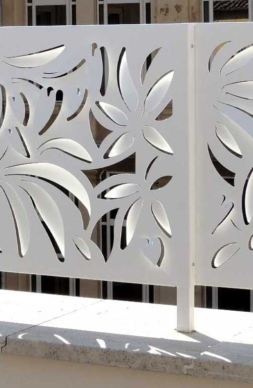 detail rooftop terrace of hotel Life in Rome; laser cut metal screens balaustrade