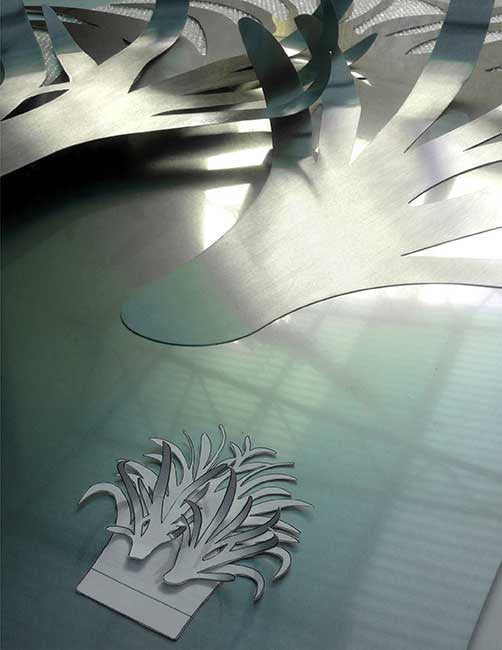 Three layers of stainless steel for a flowering courtyard fountain