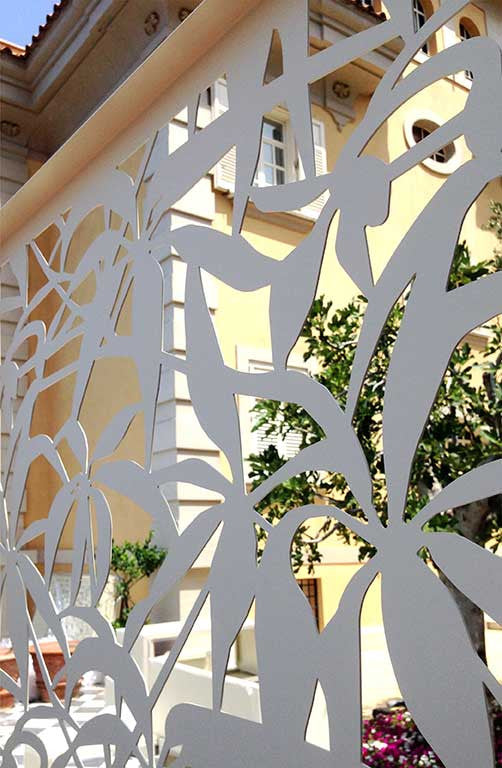 laser cut aluminum screens; perforated railing protecting guests from indiscreet view