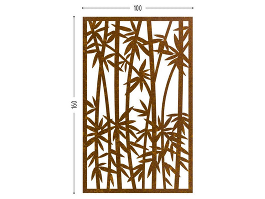 Bamboo corten screen lasercut outdoor divider