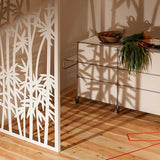 Bamboo screen lasercut white aluminium kitchen room divider