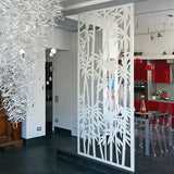 Bamboo screen lasercut white aluminium room divider