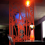 Bamboo screen lasercut red aluminium room divider