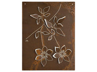 Corten wall sculpture design with Clematis essence leaves and flowers