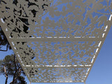 Sunsreening pergola whit figue tree lasercut aluminum silhouette