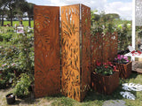 Forest screen paravent CorTen lasercut 3D leaf design