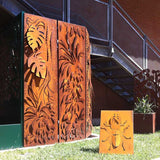 Rusty CorTen lasercut paravent  whit 3D leaves design
